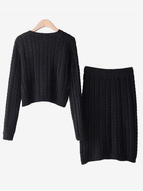Dos piezas de tejido en cable recortada suéter Y Conjunto Falda - Negro Talla única Mobile