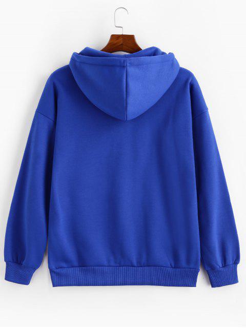 Anillo sólido Vent Zip con cordón Fleece con capucha - Azul Cobalto 2XL Mobile