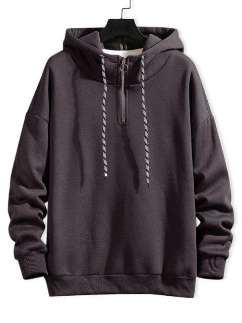Anillo sólido Vent Zip con cordón Fleece con capucha - Gris M Mobile