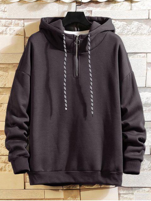 Anillo sólido Vent Zip con cordón Fleece con capucha - Gris L Mobile