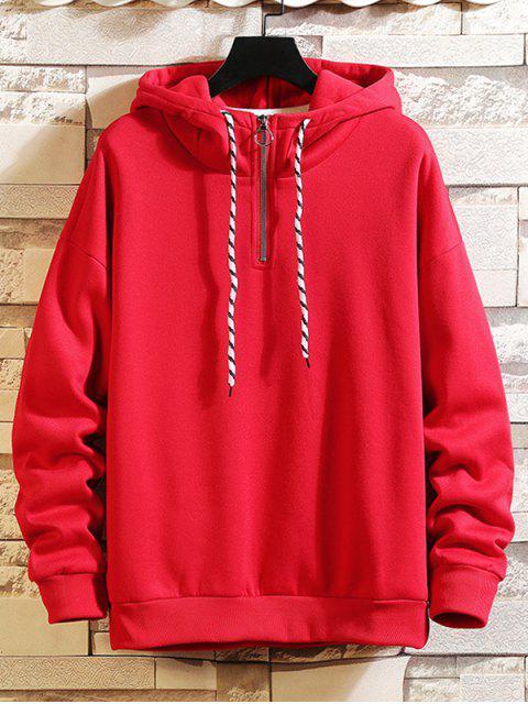 Anillo sólido Vent Zip con cordón Fleece con capucha - Rojo Lava 2XL Mobile