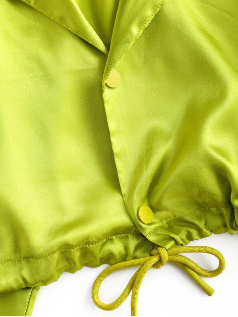 抽繩按鈕霓虹燈作物襯衫 - 綠色 M Mobile