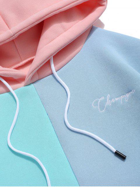 Lässige Farbe Gespleißter Beutel Tasche Kapuzenpullover - Rosa XL Mobile