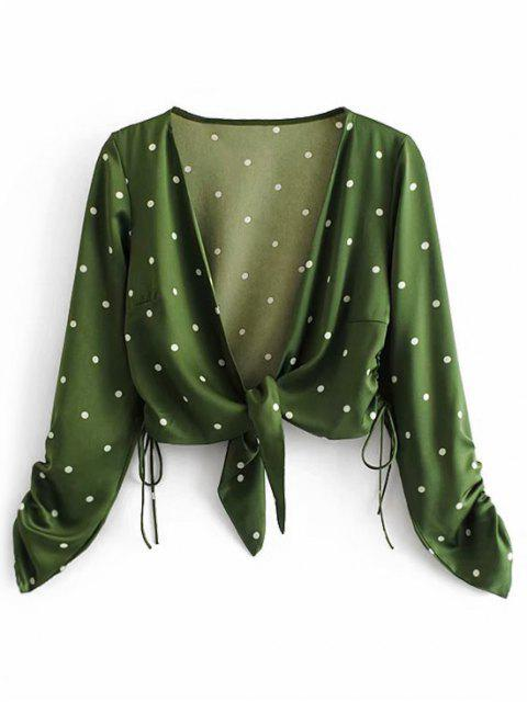 shops Tie Front Cinched Side Polka Dot Cropped Blouse - GREEN M Mobile