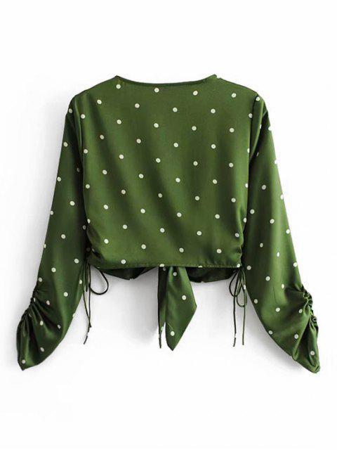 鐵前收緊方波點上衣七分褲 - 綠色 L Mobile