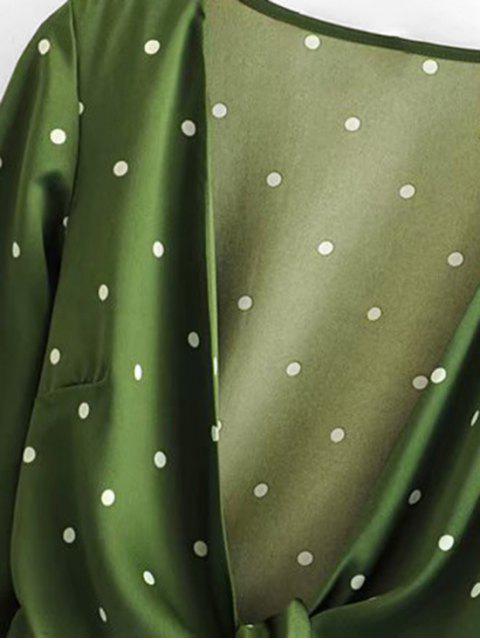 Gebundene Tupfen Kurze Geschnittene Bluse - Grün L Mobile