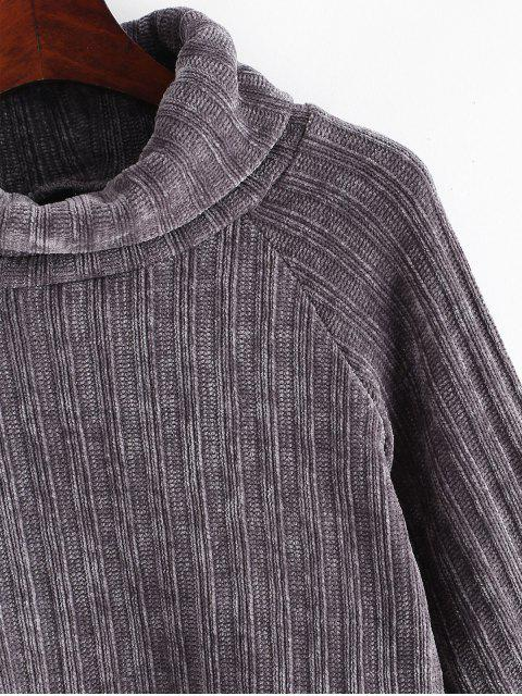 shops Chenille Turtleneck Raglan Sleeve Crop Sweater - GRAY M Mobile