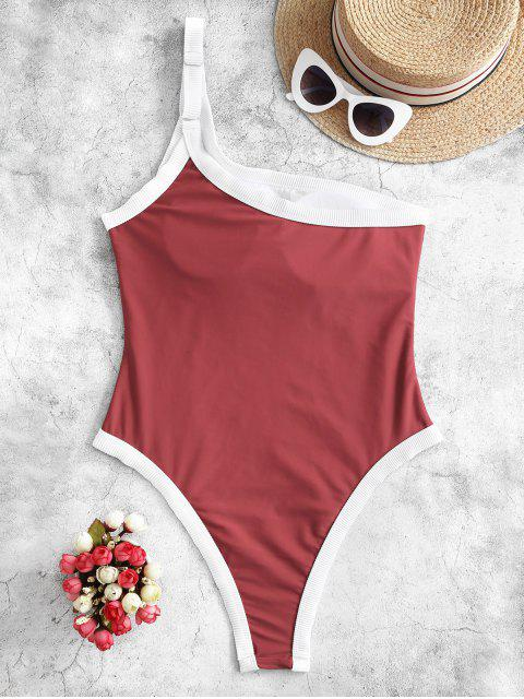 ladies ZAFUL Ribbed Trim One Shoulder One-piece Swimsuit - CHERRY RED S Mobile