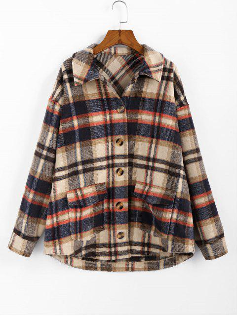 buy ZAFUL Plaid High Low Single Breasted Wool Coat - MULTI L Mobile