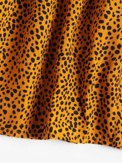 fashion Ditsy Print Smocked V Neck Peasant Dress - YELLOW XL Mobile