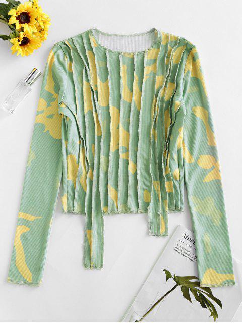 affordable Camo Pintuck Long Sleeve T-shirt - GREEN M Mobile