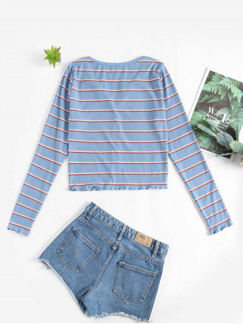 ladies ZAFUL Buttons Striped Lettuce Trim Tee - BLUE KOI S Mobile