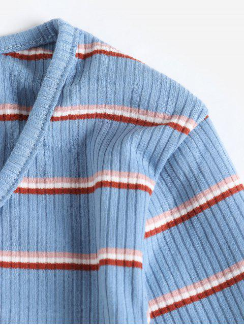 new ZAFUL Buttons Striped Lettuce Trim Tee - BLUE KOI M Mobile