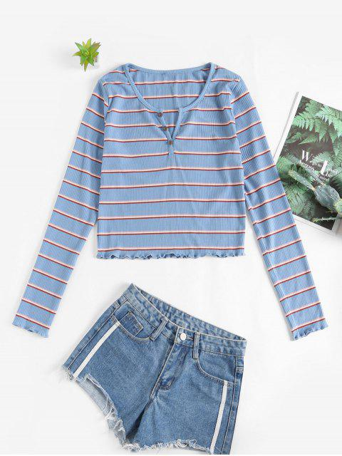 outfits ZAFUL Buttons Striped Lettuce Trim Tee - BLUE KOI L Mobile