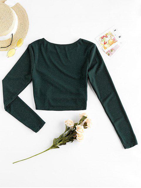 women Metallic Thread Cutout Crop Long Sleeve Tee - DARK GREEN XL Mobile