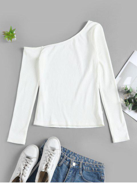 outfit ZAFUL Long Sleeve One Shoulder Ribbed Top - CRYSTAL CREAM L Mobile