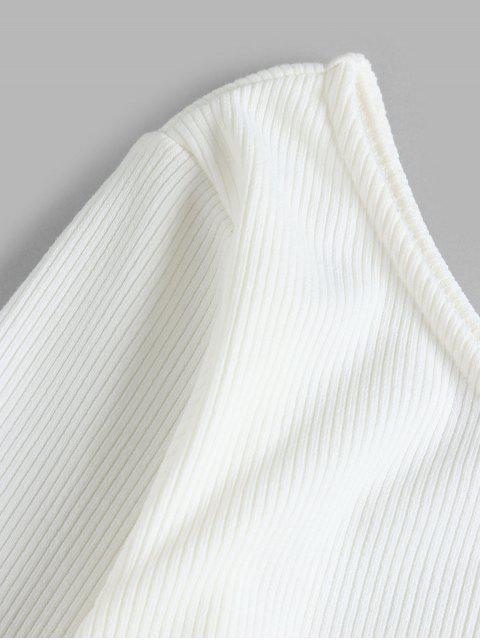 ZAFUL Top Acanalado de Cuello en V y Manga Larga - Crema de Cristal M Mobile