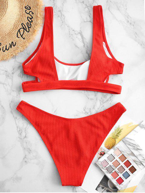 lady ZAFUL Textured Cutout High Cut Bikini Swimsuit - RED S Mobile