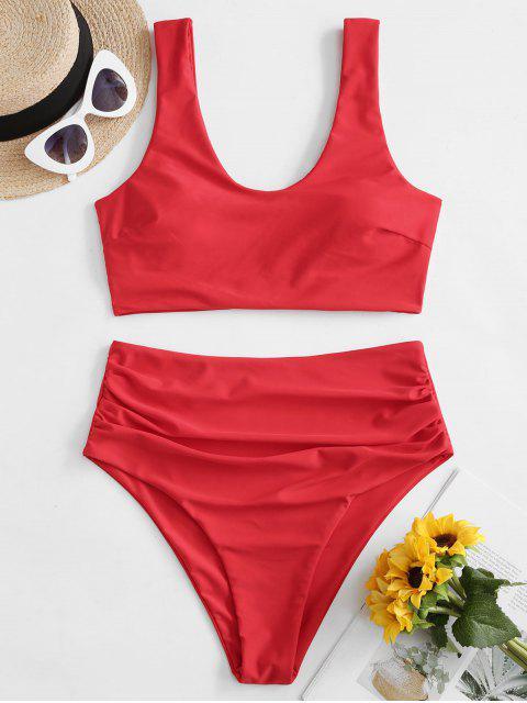 shops ZAFUL Padded Scoop Neck Tummy Control Tankini Swimwear - RED L Mobile