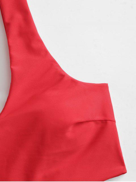 ZAFUL Costume da Bagno Tankini con Stampa Leopardata - Rosso M Mobile