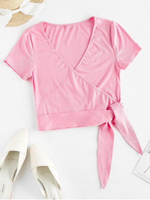 ZAFUL T-shirt Court Plongeant à Ourlet Noué - Rose Vif XL Mobile