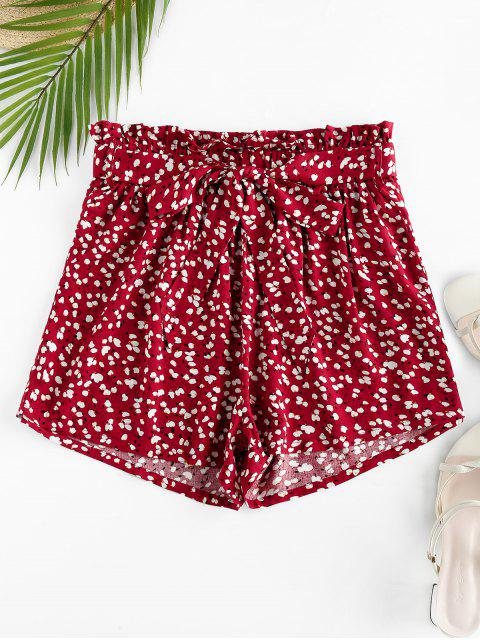 outfits ZAFUL Ditsy Print Frilled Belted Paperbag Shorts - MULTI XL Mobile