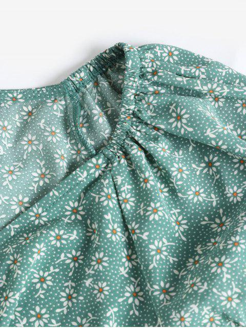 new ZAFUL Ditsy Floral Ruffles Wrap Mini Dress - LIGHT GREEN M Mobile