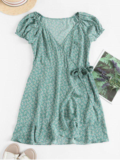 online ZAFUL Ditsy Floral Ruffles Wrap Mini Dress - LIGHT GREEN L Mobile