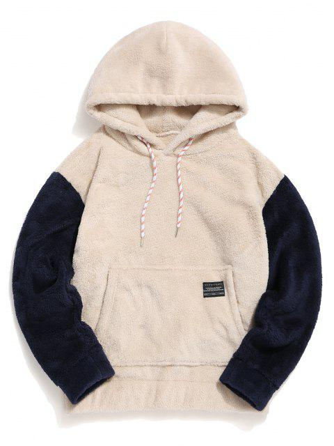 fashion Color-blocking Pouch Pocket Fluffy Hoodie - WARM WHITE S Mobile