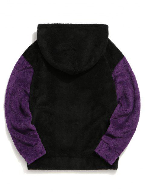 sale Color-blocking Pouch Pocket Fluffy Hoodie - BLACK M Mobile