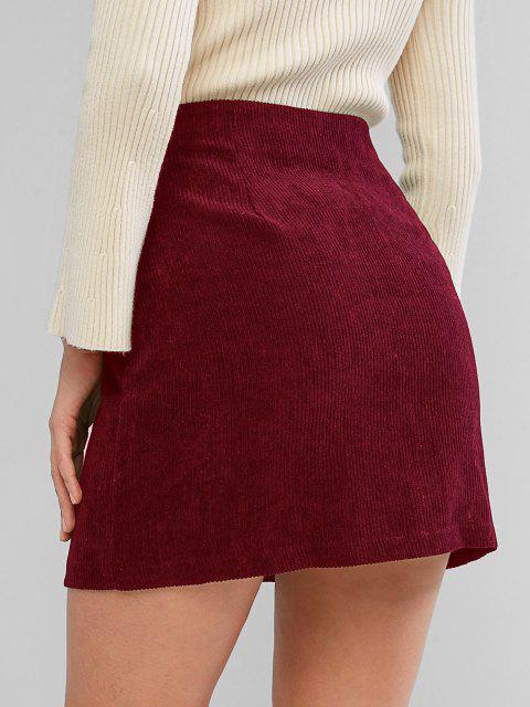 affordable ZAFUL Corduroy Button Fly High Rise Skirt - RED WINE XL Mobile