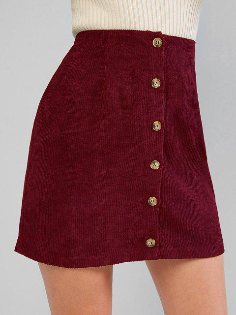 women ZAFUL Corduroy Button Fly High Rise Skirt - RED WINE M Mobile