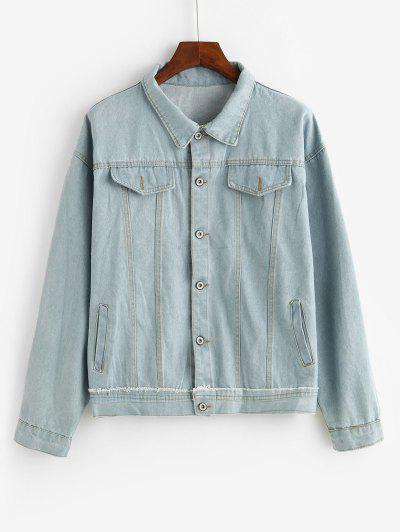 Patchwork Stitching Faux Flap Pocket Denim Jacket - Blue M
