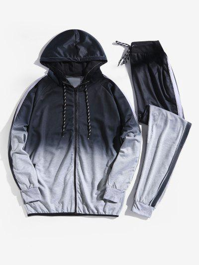 Ombre Print Sport Hooded Jacket And Jogger Pants Suits - Gray Cloud L