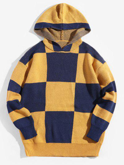 Colorblock Checkered Drop Shoulder Hooded Sweater - Bright Yellow M