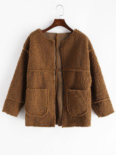 Dual Pockets Solid Teddy Jacket - Brown S