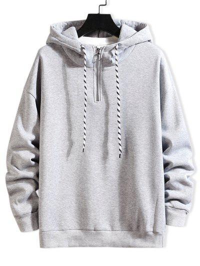 Solid Ring Vent Zip Drawstring Fleece Hoodie - Light Gray Xl