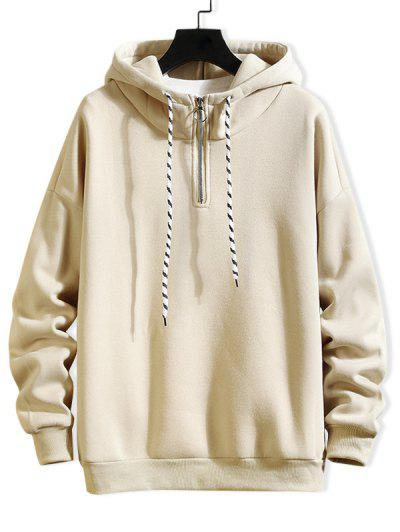 Solid Ring Vent Zip Drawstring Fleece Hoodie - Beige L