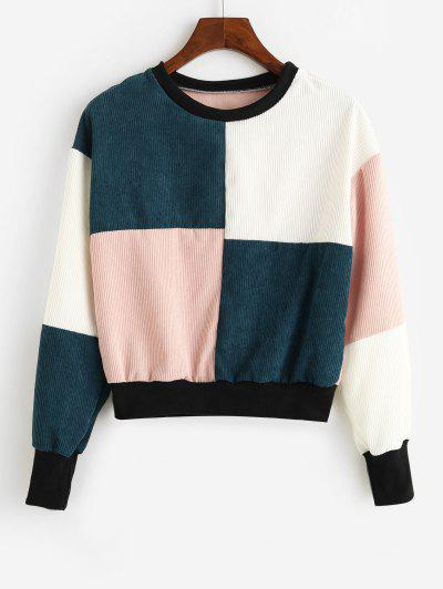 ZAFUL Drop Shoulder Colorblock Corduroy Sweatshirt - Multi S