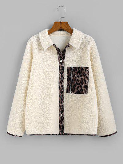 ZAFUL Leopard Insert Drop Shoulder Teddy Jacket - Beige M