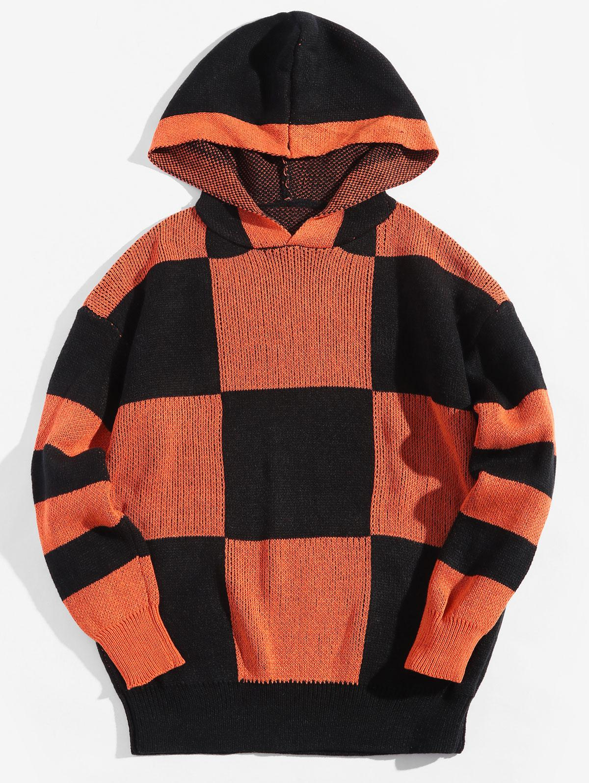 Colorblock Checkered Drop Shoulder Hooded Sweater фото
