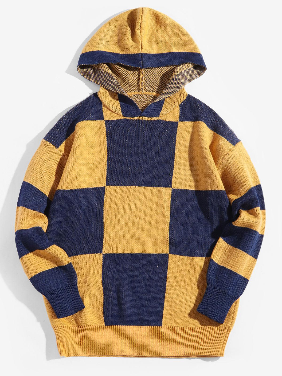 Colorblock Checkered Drop Shoulder Hooded Sweater thumbnail