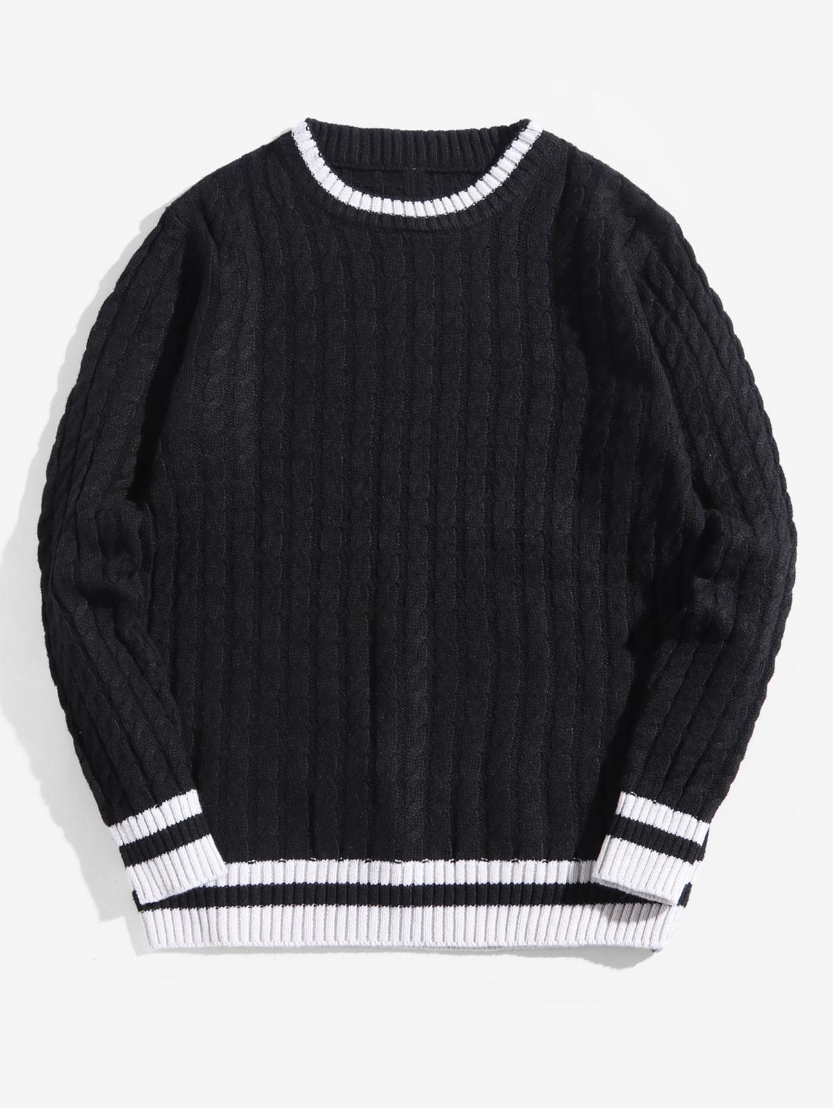 Colorblock Stripes Cable Knit Pullover Sweater thumbnail