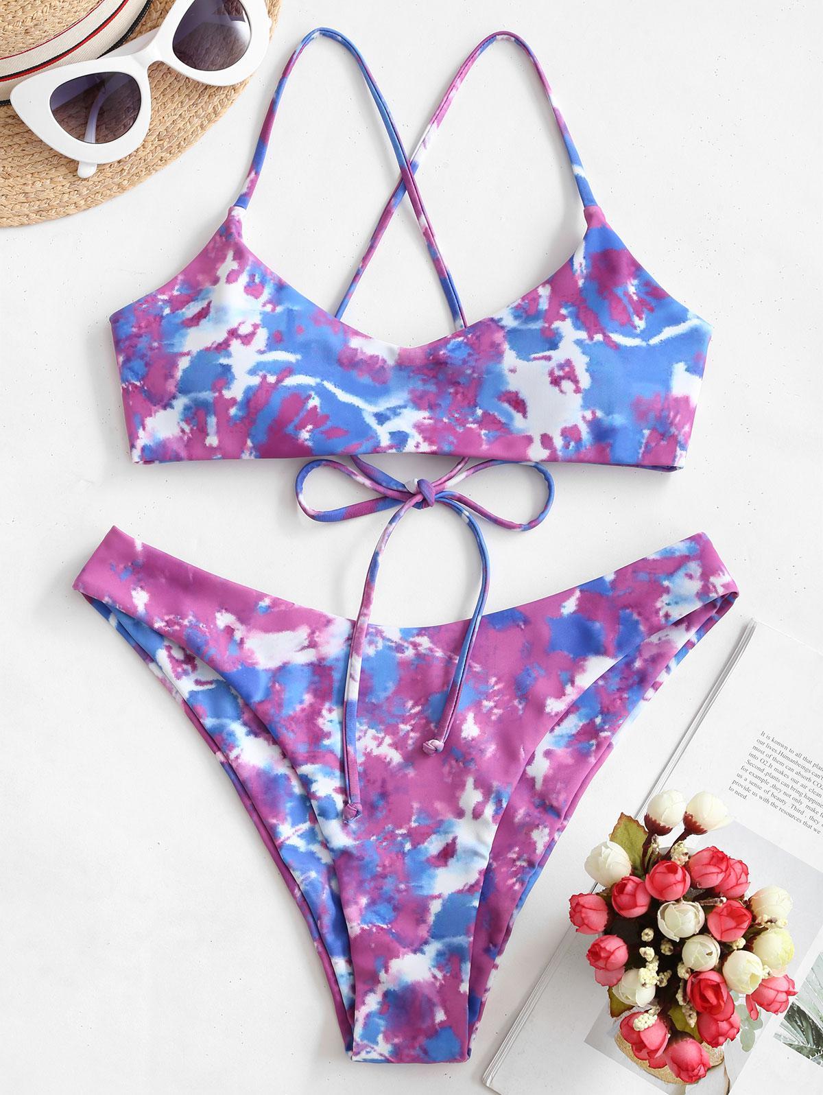 ZAFUL Tie Dye Crisscross High Cut Bikini Swimsuit фото