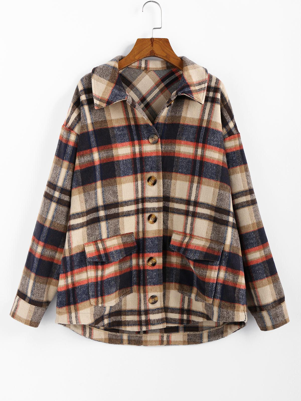 ZAFUL Plaid High Low Single Breasted Wool Coat