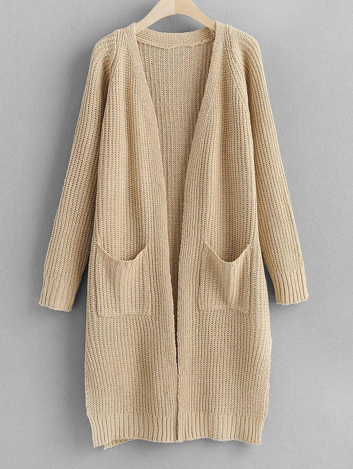 Longline Slit Dual Pocket Open Front Cardigan фото
