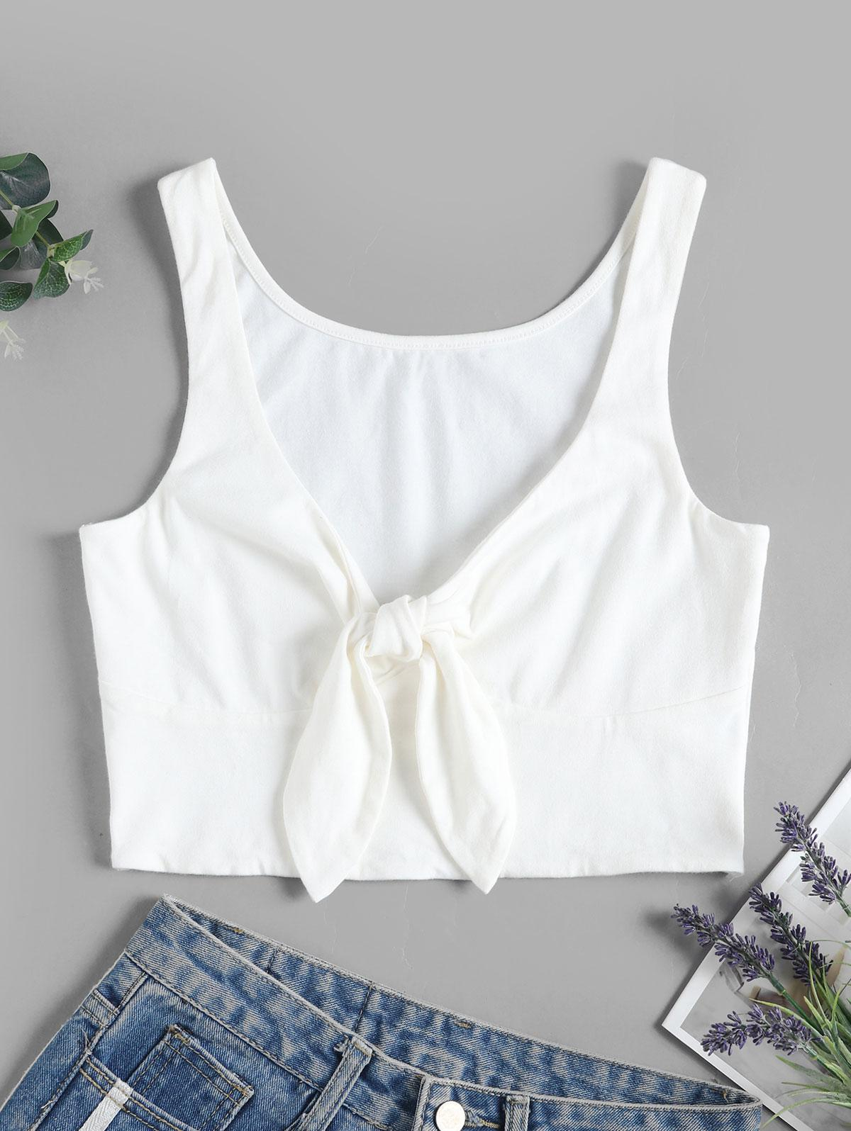 ZAFUL Solid Tie Front Cropped Tank Top