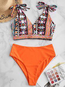 ZAFUL التعادل الكتف العليا قص طباعة Tankini ملابس السباحة - البرتقالي S