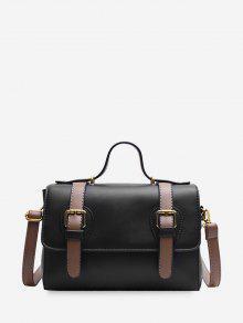 حقيبة جلدية الكتف مزدوجة الإبزيم تزيين - أسود