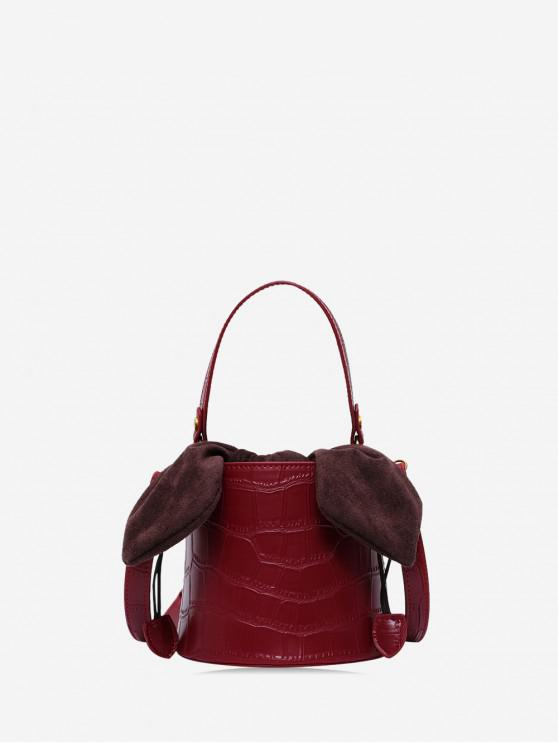 fancy Animal Embossed Top Handle Bucket Bag - RED WINE